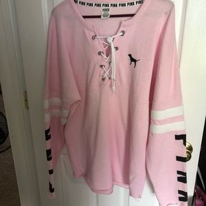 Lg PINK OVER SIZED sweatshirt large lace front